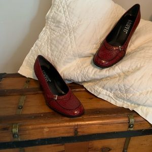 Franco Sarto red worn 3 X leather uppers